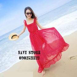 Đầm maxi chấm bi đi biển