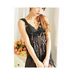 L107 Váy ngủ gợi cảm kiểu xinh thun lưới mịn màu đen