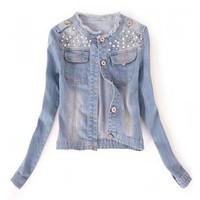 áo khoác jean đính hạt - LF029