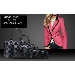 Bộ túi xách da cao cấp, phong cách châu Âu