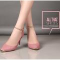 Giày xăng đan cao gót màu hồng be tiểu thư SD669-H