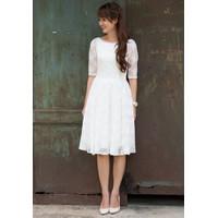 Đầm ren trắng Vintage thanh lịch