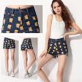 Quần short Jeans nữ thời trang, cạp cao, họa tiết Simpson nổi bật-Q310