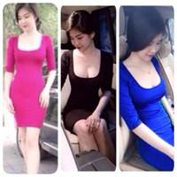 Đầm body thun tay dài cổ vuông