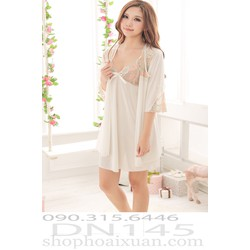 Đầm ngủ kèm áo choàng thun bóng hàng quảng châu - DN145