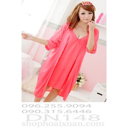 Đầm ngủ kèm áo choàng thun bóng hàng quảng châu - DN148