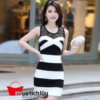Đầm trắng đen phối ren