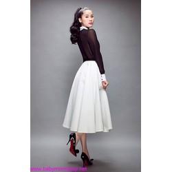 Chân váy xòe đơn giản trắng, đen, đỏ tươi, đỏ đô CV40
