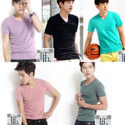 Combo 05 áo thun nam body cổ tim nhiều màu lựa chọn