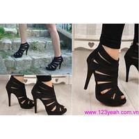Giày cao gót nhọn quai đan hở mũi sành điệu, thời trang cho bạn gái