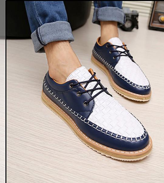 Giày nam dạo phố đế cao Mã: GH0130 - TRẮNG XANH 2