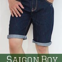 Quần short jeans xanh đen chỉ nổi SJ04