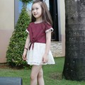 Bộ váy bé gái ngắn tay, phong cách Hàn Quốc, áo buộc vạt thời trang.