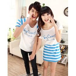 Couple áo thun nam - váy nữ họa tiết sọc blue XB 522