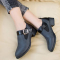 Giày boot da đế bằng