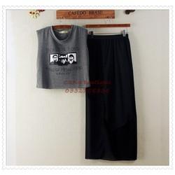 Bộ váy xéo và áo thun cá tính Hàn Quốc