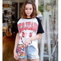 Áo thun nữ Made in Korea in hình mặt cười Mã số: E 764