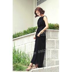 Đầm maxi thun yếm cột eo