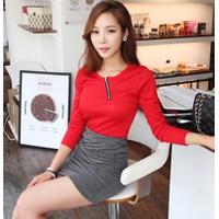 Áo thun nữ Hàn Quốc tay dài có dây kéo ở ngực E 488