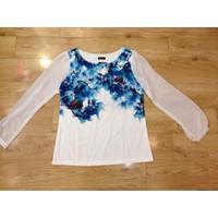 Áo voan tay dài hoạ tiết Hoa loang Hồng sành điệu thời trang AKN204