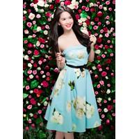 Đầm hoa cúp ngực thắt nơ eo đẹp như Ngọc Trinh, Thái Hà DV336