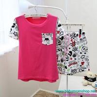 Đồ bộ mặc nhà quần lửng panda siêu cute NN319