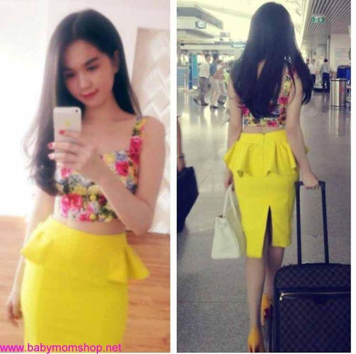 Chân váy màu vàng peplum 2 bên Ngọc Trinh CV3 1