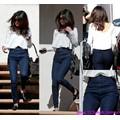 Quần jean lưng cao một nút gân xéo túi Selena Gomez