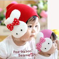 Mũ vải che tai bé gái, đính hình thỏ trắng dễ thương