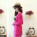 Áo khoác len cardigan dáng dài hồng sen đậm