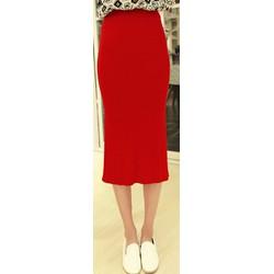 Chân váy ôm dệt kim - màu đỏ