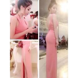 Đầm dạ hội hở lưng V váy xẻ quyến rũ hồng D456