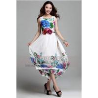 Đầm maxi Hoa xanh dương kèm belt DMK015