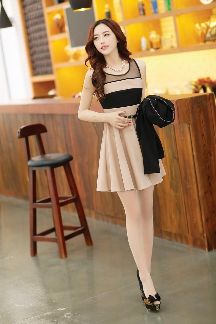 Đầm thun phối màu thời trang duyên dáng ddp08209 3