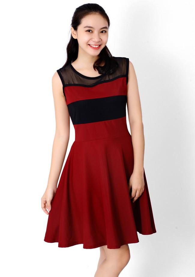 Đầm thun phối màu thời trang duyên dáng ddp08209 5