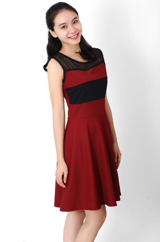 Đầm thun phối màu thời trang duyên dáng ddp08209 6