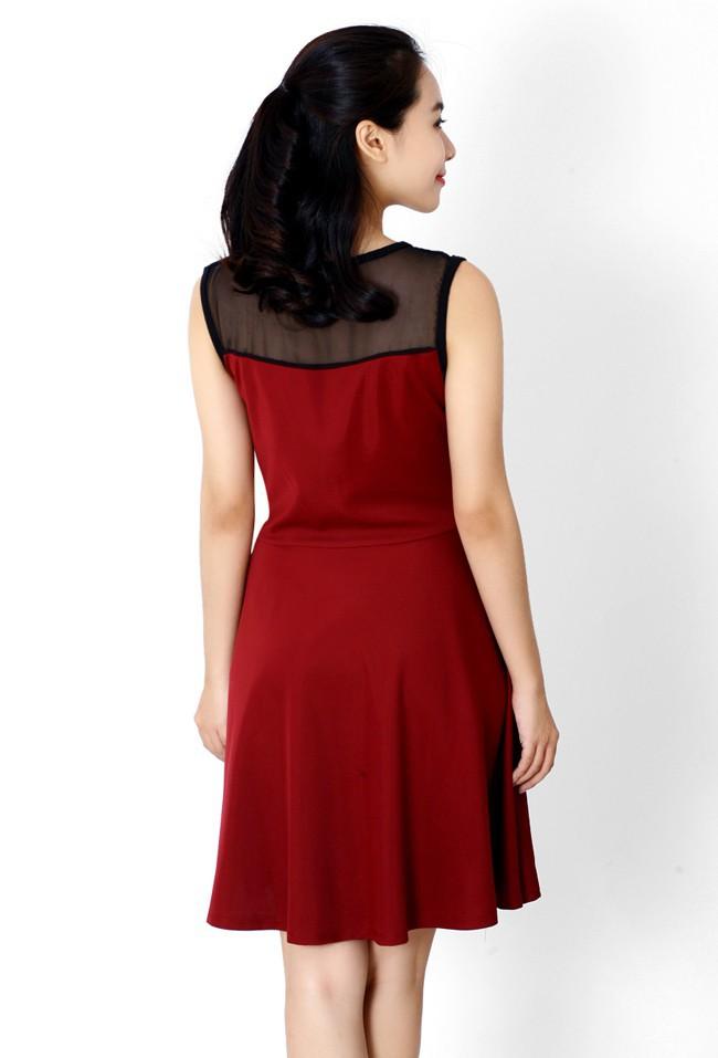 Đầm thun phối màu thời trang duyên dáng ddp08209 7