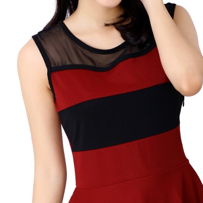 Đầm thun phối màu thời trang duyên dáng ddp08209 8