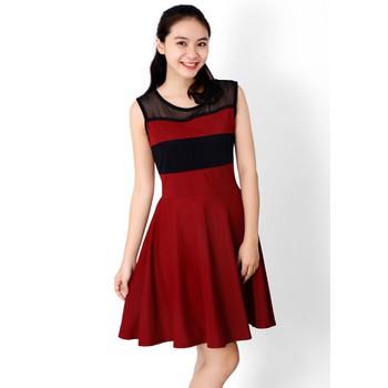 Đầm thun phối màu thời trang duyên dáng ddp08209