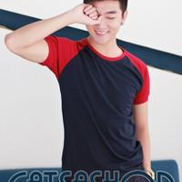 Áo thun xanh đen phối đỏ đô tay ngắn – B464