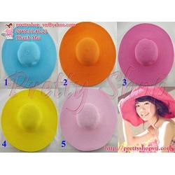 NON001 - Mũ nón rộng vành đi biển thời trang màu sắc tươi sáng