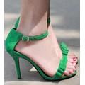 Giày cao gót kết nơ - xanh