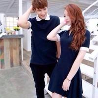Áo cặp váy xanh trắng
