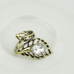 Nhẫn nữ hình chiếc lá gắn đá thời trang, phong cách Âu Mỹ