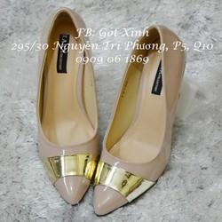 Giày cao gót mũi phối da vàng ánh kim