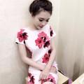 Đầm suông tay con hoạ tiết Hoa Lan đỏ DO735