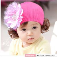 Mũ len trùm đầu bé gái, đính bông hoa xinh xắn, mẫu mùa đông ấm áp