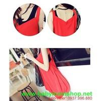 Đầm bầu đỏ đen đơn giản trẻ trung cho bạn gái mặc đi làm DB117