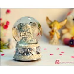 Hộp nhạc quả cầu thủy tinh Happy every day bạc 60247