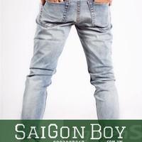 Quần jeans ống côn xanh nhợt VS10